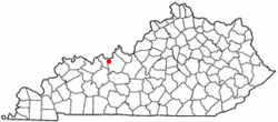 Location of Cloverport, Kentucky