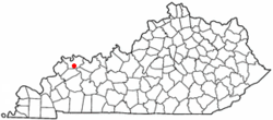 Location of Robards, Kentucky