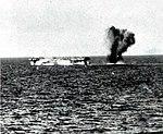 Kamikaze crashes aft of USS Lunga Point (CVE-94) on 4 January 1945.jpg