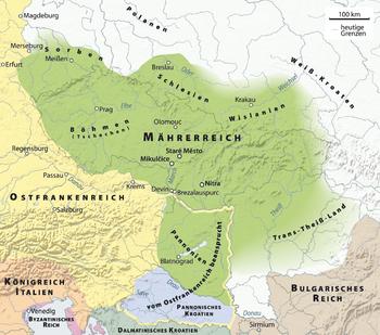 The Moravian Empire in the 9th century