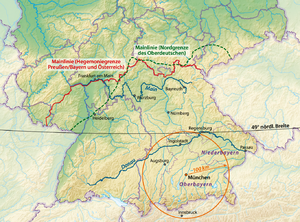 Weißwurstäquator - The various definitions of the Weißwurstäquator: 1) The Speyer line (green), 2) the river Main line as the frontier of Prussian hegemony before 1871 (red), 3) the 49° latitude (black).