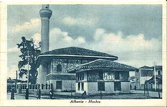 Islam in Albania - Former Sulejman Pasha Mosque of Tiranë destroyed during World War Two and its minaret in 1967