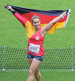 Kathrin Klaas celebrating at ISTAF 2015.jpg