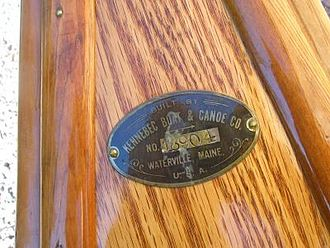 Kennebec Boat and Canoe Company - Kennebec serial number plate