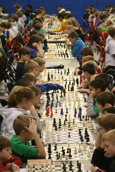 A children's chess tournament in the United States Kids chess tournament.jpg