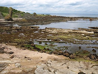 Kinkell, Fife - Kinkell Harbour, SE of the Kinkell Ness. Today no structure can be found. The creek is approached by a track deeply rutted in the rocks