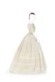 Klänning av vit bomullslinong med garnering av maskinbroderade bårder - Hallwylska museet - 89128.tif