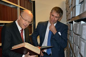 Historical Archives of the European Union - Koen Lenaerts, president of the European Court of Justice visits the HAEU deposits with the Director, Dieter Schlenker (December 2015).