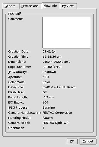 Exif - Konqueror screenshot showing Exif data