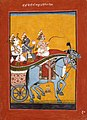 Krishna and Balarama Being Driven by Akrura to Mathura, Folio from a Bhagavata Purana (Ancient Stories of the Lord) LACMA M.71.49.1.jpg