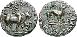 Kujula Kadphises - Kujula Kadphises Tetradrachm. Obv Brahma bull standing right, with Buddhist Triratana above. Blundered Greek legend. Rev Camel standing right. Kharoshthi legend Maharayasa Rayatirayasa Kuyula Kara Kapasa.