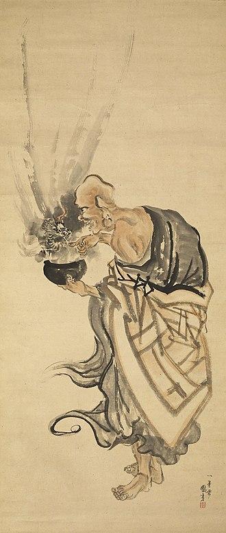 Utagawa Kuniyoshi - Painting of the arhat Handaka (British Museum)