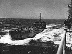 LST-221 transfers bombs to USS Hancock (CV-19), circa in 1944.jpg