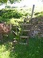 Ladder in place of ruined stile, Barkisland - geograph.org.uk - 182871.jpg