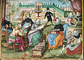 Ladies in a garden embroidering - Album Amicorum of Gervasius Fabricius (1603-1637), f.50 - BL Add MS 17025.jpg