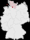 Deutschlandkarte, Position des Kreises Pinneberg hervorgehoben