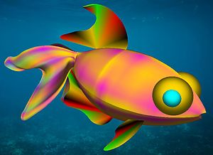 3D modeling - A 3D fantasy fish composed of organic surfaces generated using LAI4D.