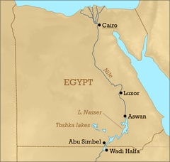 Lake Nasser - Map showing the location of the lake