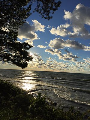 State University of New York at Oswego - A famous view: approaching sunset over Lake Ontario from the SUNY Oswego campus.