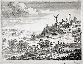 Jan van Almeloveen - Landscape with River and Town on the high ground, from the Fine Arts Museums of San Francisco