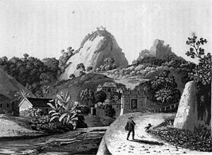 Maria Graham - Laranjeiras outside Rio de Janeiro 1821. Drawing by Maria Callcott in Journal of a Voyage to Brazil.
