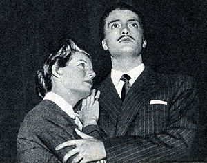 Laura Solari - Solari on stage with actor Nando Gazzolo (1956)