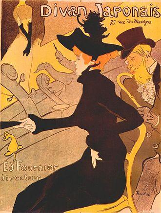 Le Divan du Monde - Poster from Henri de Toulouse-Lautrec for the Divan Japonais (1892), showing dancer Jane Avril and critic Édouard Dujardin.
