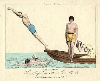 History of swimming - Les Nageurs (The Swimmers), from the series Le Supreme Bon Ton, c. 1810–1815.