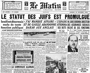 """Résultat de recherche d'images pour """"statut des juifs 3 octobre 1940 images"""""""