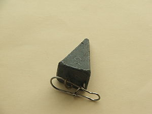 Fishing sinker - A pyramid sinker made of lead, nowadays widely regarded as too toxic a material