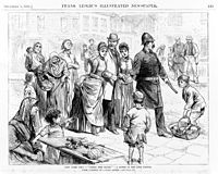 Policeman leads upper class people through the Five Points in an 1885 sketch