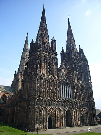 Lichfield - The three-spired Lichfield Cathedral was built between 1195 and 1249.