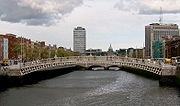 Dublin's Ha'penny Bridge over the River Liffey.
