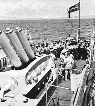 Limbo (weapon) - Limbo ASW mortar on HMNZS Taranaki (F148) c1963