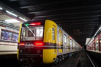 Line A (Buenos Aires Underground) - 200 Series train at Congreso station.