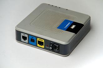 Linksys - Linksys ADSL modem AM300 backside showing Ethernet, USB, and phone line ports