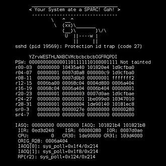 Linux kernel oops - Linux kernel oops on PA-RISC with a dead ASCII cow