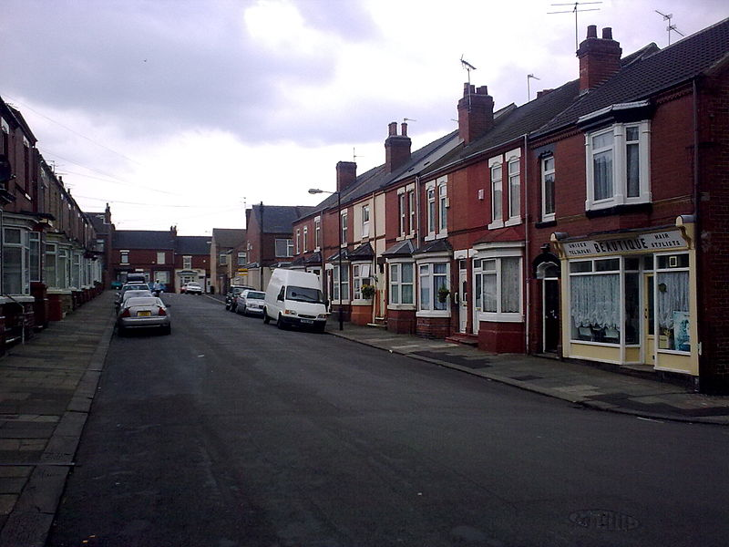 Lister Avenue in Balby (a suburb of Doncaster in the North of England), used for the exterior shots on the BBC television sitcom Open All Hours.jpg