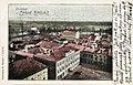 Litovel-celkový pohled od sz.-z radniční věže-vlevo dole záložna-kolorovaný světlotisk-Rudolf Mazáč-1900.jpg