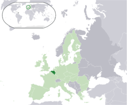 Location of  Beljiam  (dark green)– on the European continent  (light green & dark grey)– in the European Union  (light green)