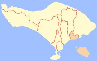 Klungkung Regency - Image: Location Klungkung Regency