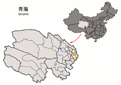 Location of Ledu District (red) in Haidong City (yellow) and Qinghai province