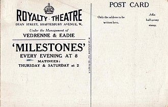 Royalty Theatre - Image: London. Royalty Theatre . Advertising postcard from 1912 (reverse)