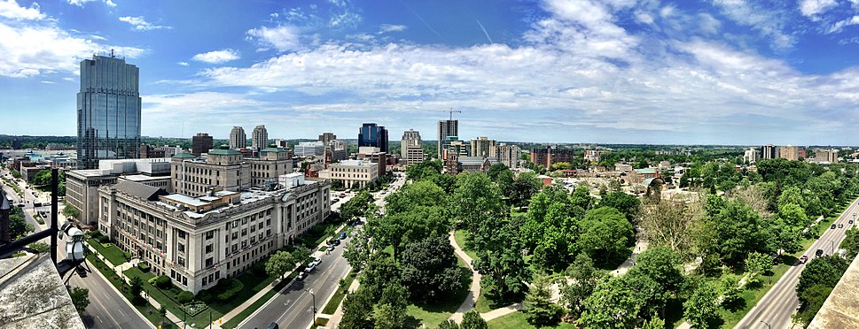 London Ontario Downtown overlooking Victoria Park from the City Hall observation deck.