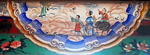 Ox in Chinese mythology - Oxherd (with children and ox), Weavergirl (opposite), and magpies flying to form the Magpie Bridge, as depicted in the Long Corridor, Summer Palace, Beijing.