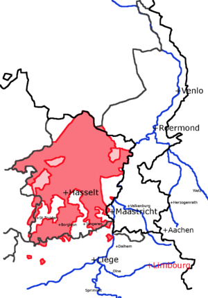 County of Loon - This map shows the medieval County of Loon in red, behind modern provincial borders. The light red zones were under Loon and another lord jointly.