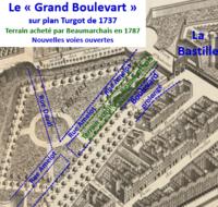 """Lotissement du bastion de la porte Saint-Antoine """"grand boulevart"""" sur plan Turgot avec le terrain acheté par Beaumarchais.png"""
