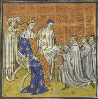 Louis X of France - Louis receiving a diploma from the Jews, whom he readmitted to France under strict terms. Painting made in 14th century.
