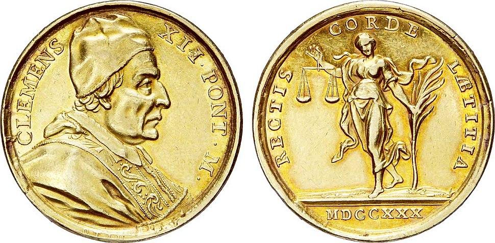 Médaille en or à l'effigie du Pape Clément XII, 1730