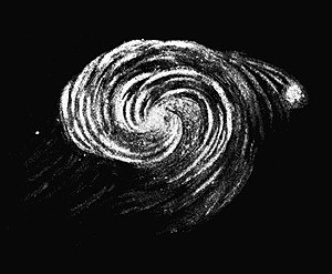 Leviathan of Parsonstown - Drawing of the Whirlpool Galaxy by 3rd Earl of Rosse in 1845 based on observations using the Leviathan